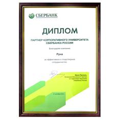 Диплом Сбербанка России за эффективное и плодотворное сотрудничество с корпоративным университетом