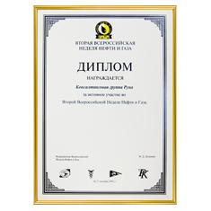 Диплом за активное участие во Всероссийской неделе нефти и газа в 2002 году
